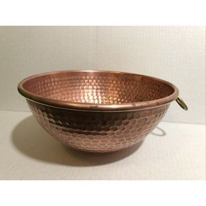"""Vintage Hammered Copper Mixing Bowl 9.5"""" Wide w/Ha"""